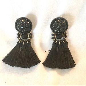 H&M Black Tassel Earrings